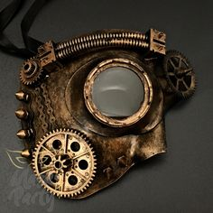Halloween Sneer Rusted Teeth Steampunk Gear Chain Costume Mask