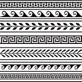 Vector - Set of geometric greek borders - stock illustration, royalty free illustrations, stock clip art icon, stock clipart icons,… Border Pattern, Border Design, Pattern Art, Pattern Design, Art Patterns, Pottery Patterns, Pattern Images, Pattern Ideas, Vector Pattern