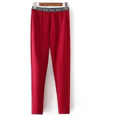 Plus Size Letter Stretchy Leggings (€15) ❤ liked on Polyvore featuring pants, leggings, red trousers, stretch leggings, stretchy pants, red stretch pants and plus size red pants