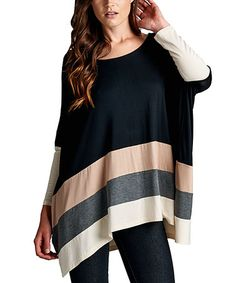 Another great find on #zulily! Black & Mocha Stripe Dolman Tunic #zulilyfinds
