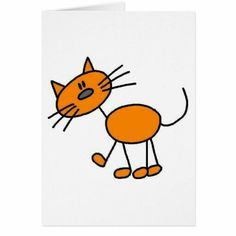 Shop Cat Stick Figure Card created by stick_figures. Drawings With Meaning, Art Drawings For Kids, Drawing For Kids, Cartoon Drawings, Easy Drawings, Animal Drawings, Art For Kids, Drawing Ideas, Stick Figure Drawing