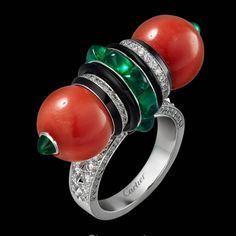 Enjoy unique accessories from . Art Deco Jewelry, High Jewelry, Vintage Jewelry, Jewelry Design, Coral Ring, Coral Jewelry, Silver Jewelry, Cartier Jewelry, Cartier Rings