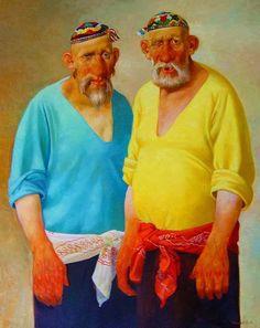 by Bakhtiyor Umarov (Tashkent, Uzbekistan) Fat Art, Book Characters, Naive, Book Illustration, Contemporary Art, Folk, Drawings, Oil Paintings, Modern Paintings