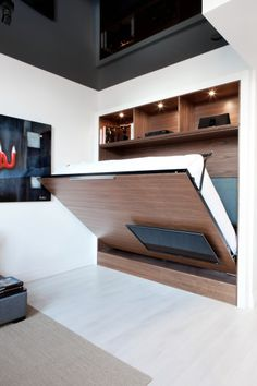 Decorate your room in a new style with murphy bed plans Murphy Bed Ikea, Murphy Bed Plans, Full Size Murphy Bed, Horizontal Murphy Bed, Foldable Bed, Modern Murphy Beds, Plafond Design, Home Entertainment Centers, Hidden Bed