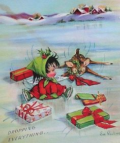 vintage Christmas Eve Rockwell baby on ice skates, deer fell on ice Vintage Christmas Images, Old Christmas, Christmas Scenes, Vintage Holiday, Christmas Pictures, Retro Christmas, Vintage Images, Vintage Greeting Cards, Christmas Greeting Cards