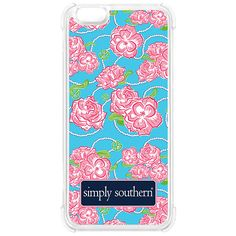 Simply Southern Roses Phone Case Fits an iPhone 6 Design features pink roses on a blue background with strings of pearls. Perfect way to add some preppiness to your favorite accessory!