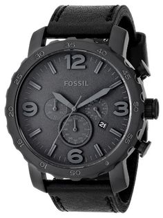 Save $45.82 on Fossil Men`s JR1354 Nate Analog Display Analog Quartz Black Watch; only $99.18