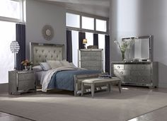 Angelina Bedroom Collection - Value City Furniture-Queen Bed $999.99 Now I'm torn...Idk if i like this one, or the Marilyn bedset better...hmm.