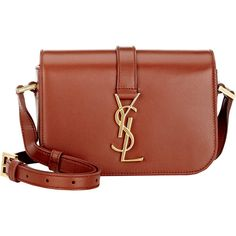 Saint Laurent Monogramme Universite Small Shoulder Bag (£1,115) ❤ liked on Polyvore featuring bags, handbags, shoulder bags, brown, yves saint laurent shoulder bag, shoulder strap bag, brown purse, yves saint laurent and shoulder strap handbags