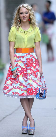 Carrie showed off her Summer brights in a sunny Peter Pan collar top, a printed Topshop skirt, and Carven platform wedges.