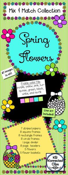 Spring Flowers Mix & Match Collection - Clip Art $ https://www.teacherspayteachers.com/Product/Spring-Flowers-Mix-Match-Collection-Clip-Art-1737592