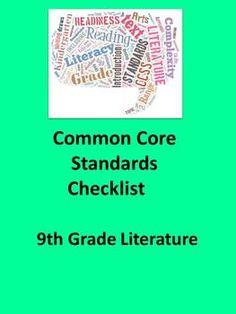 9th Grade English Literature Common Core Standards Checkli