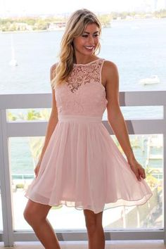 Blush Crochet Short Dress with Open Back