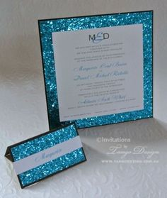 glitter wedding invitation with aqua blue sparkle by www.tangodesign.com.au