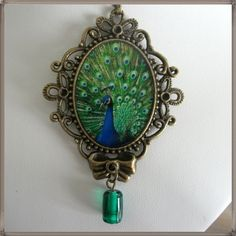 Peacock  necklace picture cameo antique by blackunicorndesigns, $25.00