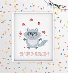 Raccoon Art Print, Woodland Nursery Animals, Forest Animal Prints, Kitchen Art…