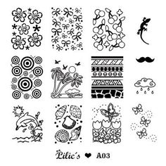 Lilic's stamping plate A03 full nail small flower bow cherry lizzard circle beach palm sun textile moustache rainy cloud dolphin seashell butterfly