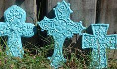 Tiffany Blue Crosses Set of 3 Green Colors, Blue Green, Religious Cross, Aqua, Turquoise, Blue Cross, Rosaries, Tiffany Blue, Crosses