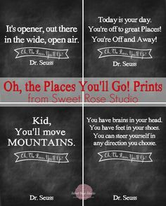 Oh the Places You'll Go Prints :: perfect for Dr. Seuss' birthday, graduations, and kids' room decor!