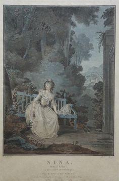 "Engraving (1787), by Jean-François Janinet (1752-1814), of Louise-Rosalie Lefebvre, Madame Dugazon (1755-1821) as Nina, in ""Nina, ou La Folle par Amour"" (1786), by Nicolas-Marie Dalayrac (1753-1809)."