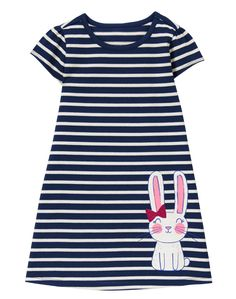 Baby Girl Gym Navy Stripe Bunny Shift Dress by Gymboree Newborn Girl Outfits, Little Girl Outfits, Toddler Girl Outfits, Kids Outfits, Kids Fashion Boy, Toddler Fashion, Funny Baby Clothes, Babies Clothes, Cute Dresses For Teens