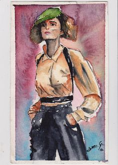 ink, figure, woman, watercolor