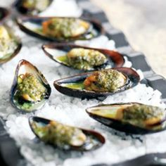 Grilled Mussels with Salsa Verde @eatingwell