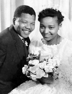 South African anti-apartheid leader and member of the African National Congress (ANC) Nelson Mandela shown in a file photo dated 1957 posing with his wife Winnie during their wedding. (Photo credit should read OFF/AFP/Getty Images) Nelson Mandela Family, Citation Nelson Mandela, Nelson Mandela Quotes, Black Love, Black Is Beautiful, Black Art, Martin Luther King, Winnie Mandela, African National Congress