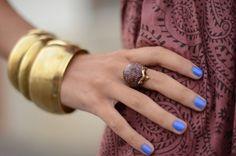blue mani + gold bangles.