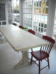 The Lorimer Workshop: Custom Farm Tables - Antique style trestle table Find Furniture, Dining Room Furniture, Painted Furniture, Furniture Ideas, White Wash Table, Do It Yourself Upcycling, Dining Table In Kitchen, Dining Tables, Outdoor Dining