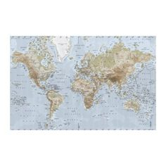 PREMIÄR  Picture, world map  I love maps on the wall.  #styledby
