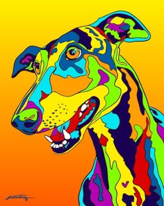 Hand painted and printed in USA by the artist Michael Vistia. Dog Breed: The Greyhound is a bre. Greyhound Dog Breed, Greyhound Art, Dog Pop Art, Dog Art, Dog Blanket, Grey Hound Dog, Colorful Animals, Rainbow Art, Dog Paintings