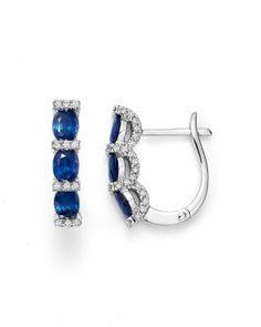 0371b7479 Bloomingdale's Sapphire Oval and Micro Pavé Diamond Huggie Hoop Earrings in  14K White Gold - 100% Exclusive Jewelry & Accessories - Bloomingdale's