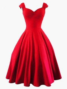 c9a6fef4677 Robe vintage rétro unicolore avec zip Robe Rouge Vintage