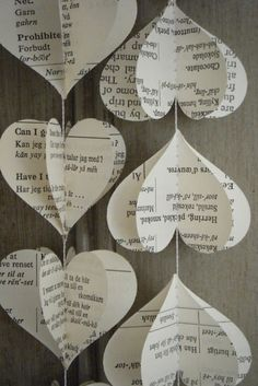 Easy And Beautiful DIY Projects Made With Old Books 2017 Upcycled Old Book Page Heart Garland. DIY Projects Made With Old Books! , Tips and Ideas for Gifts and DIY Home Decor. The Paper Wedding Anniversary Gift Ideas Old Book Crafts, Book Page Crafts, Diy Old Books, Valentine Crafts For Kids, Kids Crafts, Valentines, Valentine Hearts, Geek Crafts, Book Projects