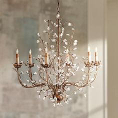 No matter what room it's added to, this artistic chandelier is sure to be a head turner. Style # at Lamps Plus. Candle Chandelier, Antique Chandelier, Candelabra Bulbs, Chandelier Lighting, Devine Design, Elegant Chandeliers, Bubble, Bedroom Lighting, Leaf Design