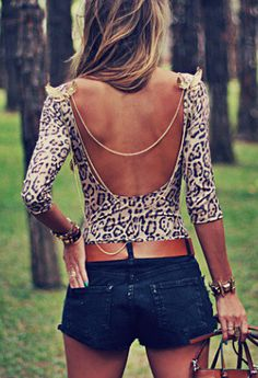 low back leopard, shorts  belt. Not sure how I'd wear this shirt (the whole no bra thing doesn't exactly work) but it's still super cute