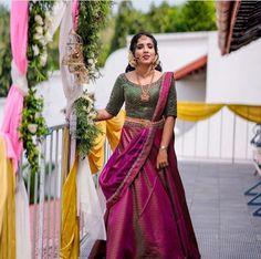 Half Saree Lehenga, Lehenga Saree Design, Saree Look, Saree Dress, Lehenga Blouse, Kerala Engagement Dress, Engagement Dress For Bride, Engagement Ideas, South Indian Wedding Saree