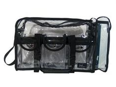 Stilazzi Pro Set Bag Clear -- clear so everything is visible and has a convenient tissue box holder on the side!