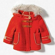 Red winter coat with fur hood Zara Kids