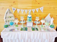 Nautical Themed Green Blue Chevron Party.... Love love. But maybe a splash of orange