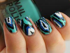 Blue & Turquoise ikat nail art design