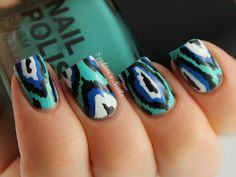 Blue & Turquoise Ikat   #nail #nails #nailart