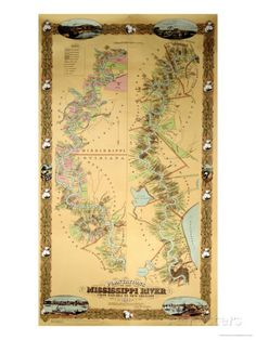 Map Depicting Plantations on the Mississippi River from Natchez to New Orleans, 1858 Giclee Print at AllPosters.com
