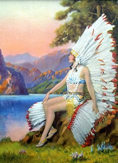 White Feather : Indian Maiden : R. Atkinson Fox : Fine Giclee Print Archival Reprint Company