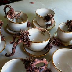 Cups and saucers if they were left on Davy Jones ship!  -Crustacean Ceramics