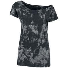 De corte casual y sexy total. La camiseta larga negra de Marylin impresiona. En la camiseta ciertos borrones blancos componen el diseño. La camiseta está realizada en 100% algodón.