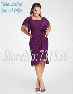 Evening dress 2013 Cap Sleeve Chiffon Eggplant Mother of the Bride Dresses Purple Tea Length Plus Size Mother of the Groom Dress $67.10