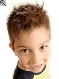 Short and spiky hairstyle for boys. The sides are super short and clipper cut, the top hair is longer.
