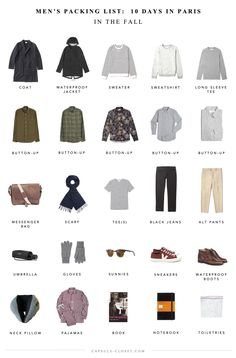 Men's Paris packing list – CAPSULE CLOSET to you actually need the many product packaging Fall Packing List, Winter Travel Packing, Paris Packing, Europe Travel Outfits, Packing For Europe, Packing Checklist, Packing Lists, Travel Tips, Travel Capsule